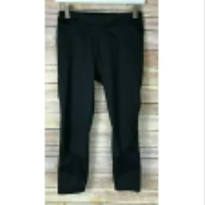 ATHLETA Black Cropped Athletic Pants Mesh Dotted S